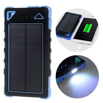 Dual USB Water-resistant Solar Charger / Power bank - Blue