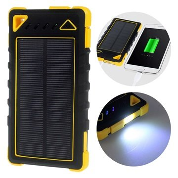 Dual USB Water-resistant Solar Charger / Power bank - Yellow