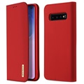 Dux Ducis Wish Samsung Galaxy S10 Wallet Leather Case - Red