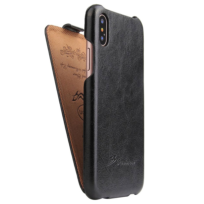 Iphone X Fashion Slim Vertical Flip Case Black