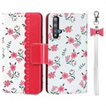 Floral Pattern Huawei Nova 5T, Honor 20/20S Wallet Case - Hot Pink