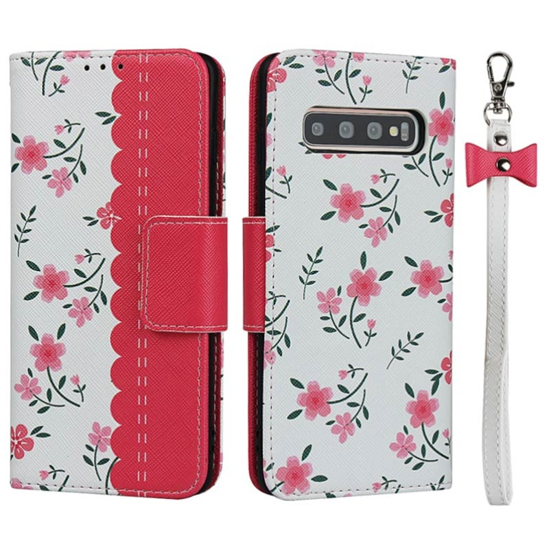 Floral Pattern Samsung Galaxy S10 Wallet Case - Hot Pink