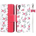 Floral Pattern iPhone XR Wallet Case - Hot Pink