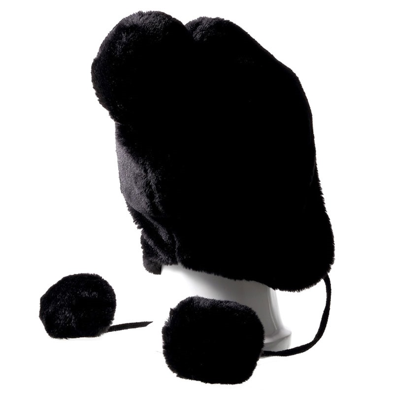Fluffy Beanie Hat Bluetooth Headset - Black