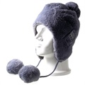 Fluffy Beanie Hat Bluetooth Headset - Grey
