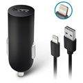 Forever Car Charger And Lightning Cable - 2A, 1.2m - Black