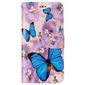 LG G6 Glam Series Wallet Case - Blue Butterfly / Flowers