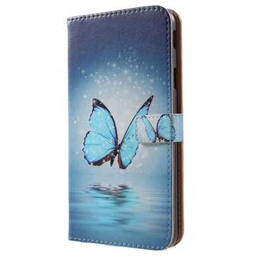 Glam Series Samsung Galaxy J4+ Wallet Case - Blue Butterfly