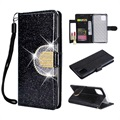 iPhone 11 Pro Glitter Wallet Case with Mirror - Black
