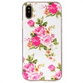iPhone X Glow in the Dark TPU Cover - Pink Flowers