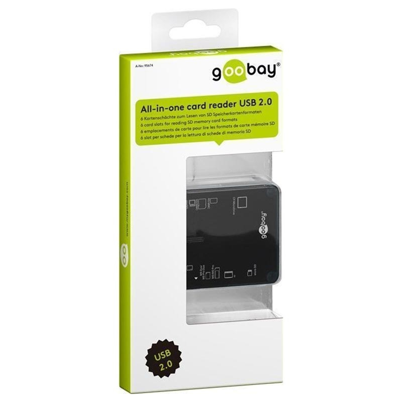 Goobay External Card Reader - 6 Card Slots - Black