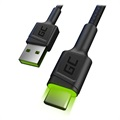 Green Cell Ray Fast USB-C Cable with LED Light - 1.2m