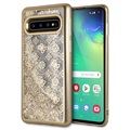 Guess 4G Peony Liquid Glitter Samsung Galaxy S10 Case - Gold