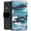 Huawei P20 Premium Wallet Case - Blue Camouflage