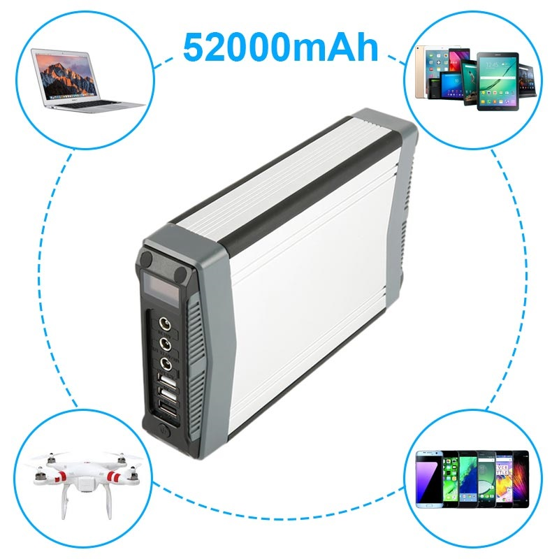Huge Capacity Universal Power Bank - 3xUSB, 2xDC - 52000mAh