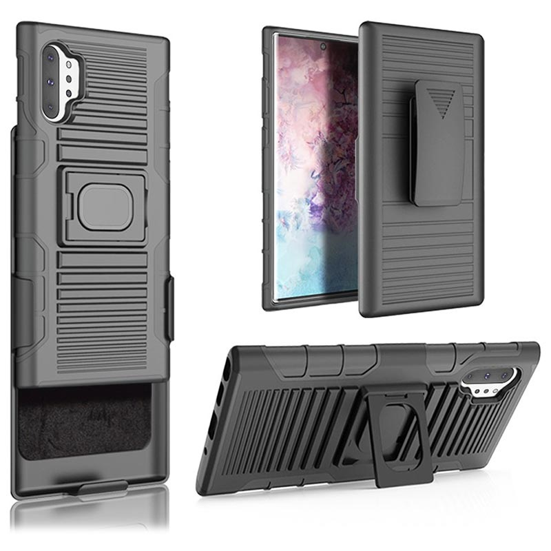 Samsung Galaxy Note10+ Hybrid Case with Belt Clip - Black