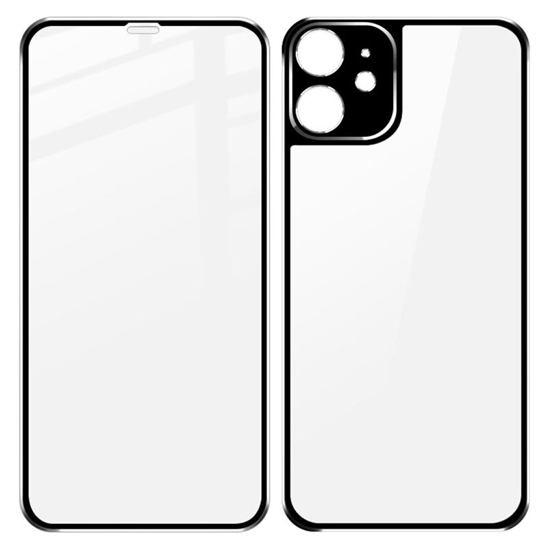 Imak Metal iPhone 11 Tempered Glass Protection Set - Black