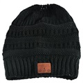 Knitted Beanie Hat Bluetooth 5.0 Headset - Black