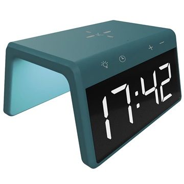 Ksix Alarm Clock 2 with Fast Wireless Charger and Night Lamp - 10W - Green
