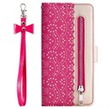 Lace Pattern iPhone 11 Wallet Case - Hot Pink