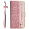 Lace Pattern iPhone 11 Wallet Case - Rose Gold