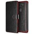 LG V20 VRS Design Layered Dandy Wallet Case - Black / Wine Red