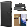 OnePlus 7 Pro Leather Wallet Case with Stand - Black