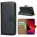 iPhone 12 mini Leather Wallet Case with Stand - Black