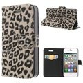 iPhone 4 / 4S Wallet Leather Case - Leopard - Grey