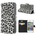 iPhone 4 / 4S Wallet Case - Leopard - White