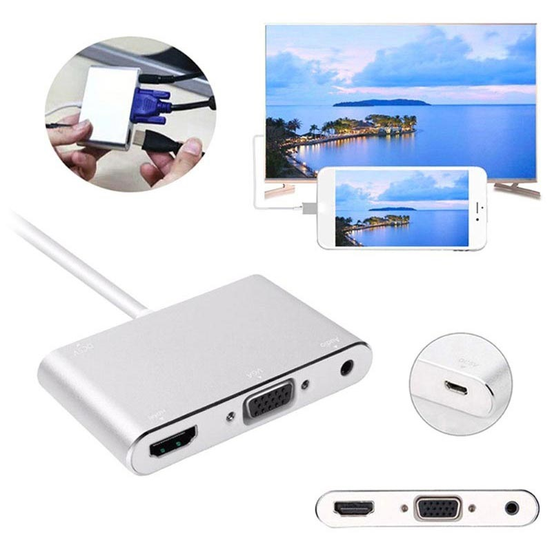 Lightning / HDMI, VGA, Audio, MicroUSB Adapter - iPhone, iPad