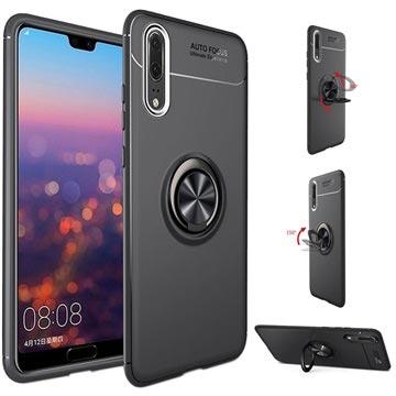 Huawei P20 Pro Magnet Ring Grip Kickstand Case Black