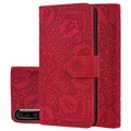 Mandala Series Samsung Galaxy A50 Wallet Case - Red
