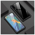 Huawei P30 Metallic Bumper w/ Tempered Glass Back - Black