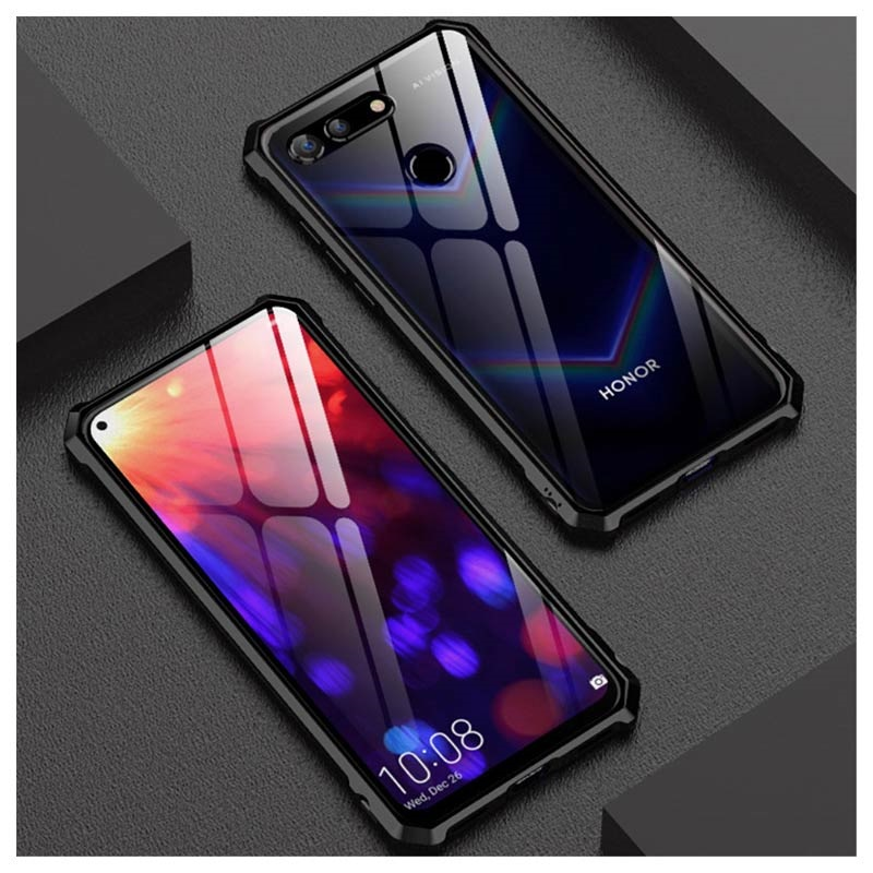 Honor View 20 Metallic Bumper w/ Tempered Glass Back - Black