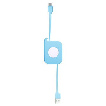Momax Easy-Link Retractable USB Type-C Cable - Blue
