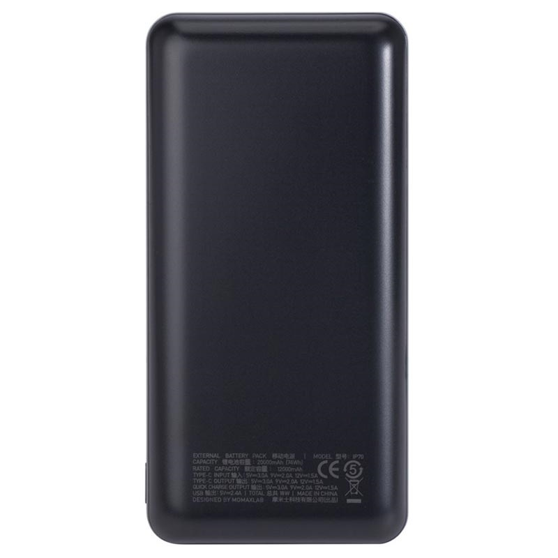 Momax iPower Minimal PD3 USB-C Power Bank - 20000mAh - 18W - Black