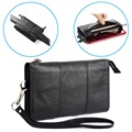 "Multi-Slot Universal Hand & Waist Leather Bag - 6.5"" - Black"