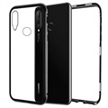 Okkes Armor Huawei P30 Lite Magnetic Case with Tempered Glass Back - Black