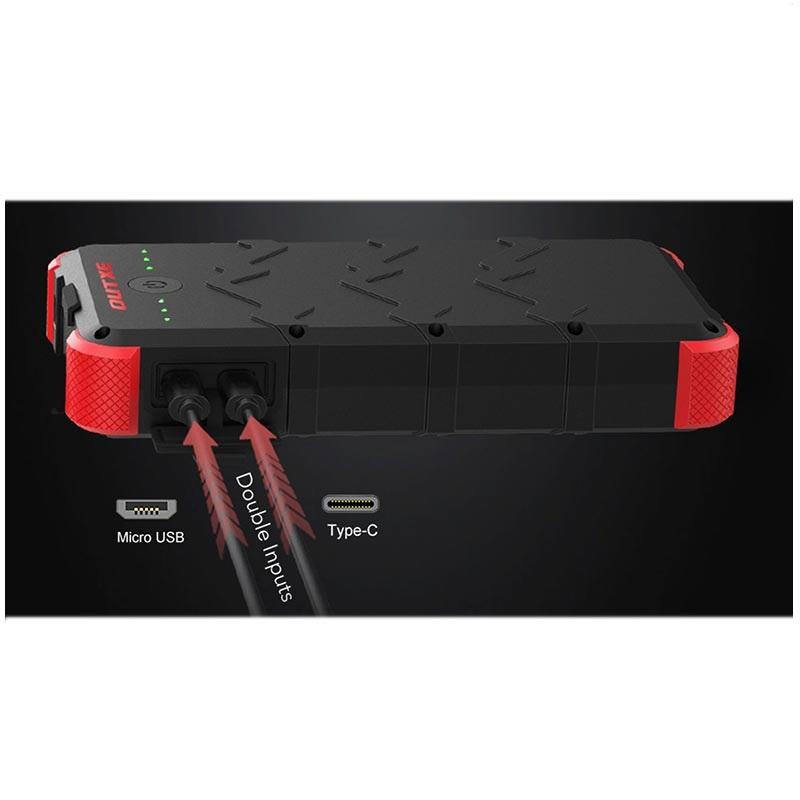 Outxe Savage 20000mAh Quick Charge Rugged Power Bank - Black / Red