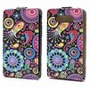 Nokia Lumia 820 Vertical Flip Leather Case - Colorful Flowers