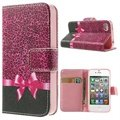 iPhone 4 / 4S Wallet Leather Case - Pink Leopard