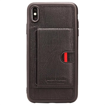 Pierre Cardin Leather Coated iPhone XS Max TPU Case with Kickstand