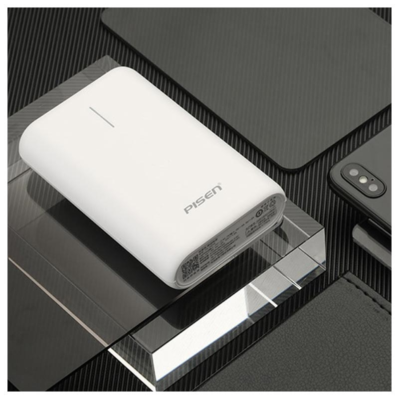 Pisen TS-D234 Compact QC3.0&PD Power Bank - 10000mAh - White