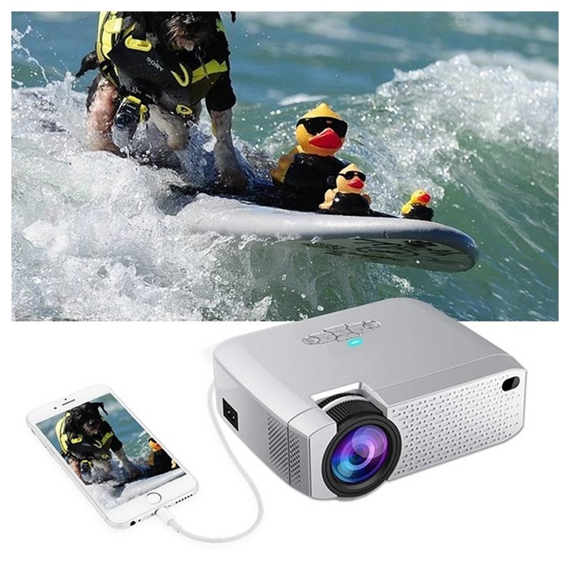 Portable Mini LED Projector D40W - 3000lm - Silver