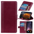 Premium Samsung Galaxy A10 Wallet Case with Kickstand Feature - Wine Red