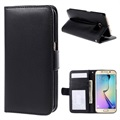 Samsung Galaxy S6 Edge Premium Wallet Case with Stand Feature - Black