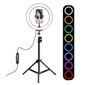 "Puluz Tripod Stand & 10.2"" Ring LED Light with RGBW Function"