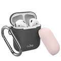 Puro Icon AirPods / AirPods 2 Silicone Case with Carabiner - Dark Grey / Pink