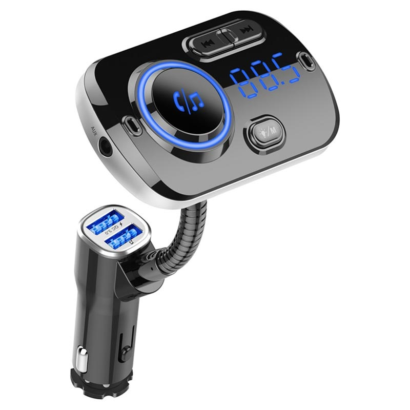 QC3.0 Car Charger / Bluetooth FM Transmitter with RGB BC49AQ - Black